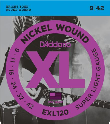 D'addario EXL120 9-42 Electric Guitar Strings